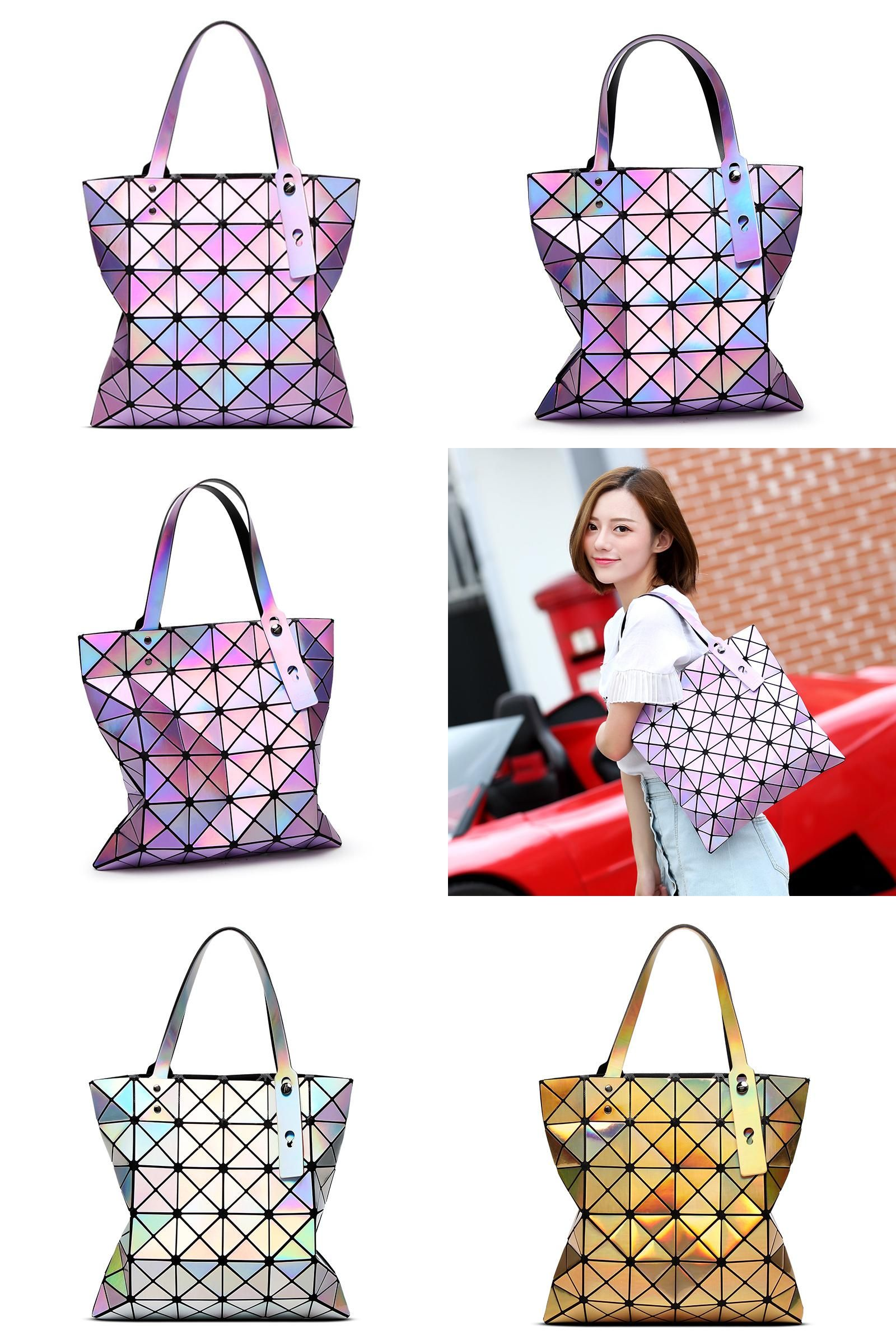 Visit to Buy  Women Laser Bright BaoBao Tote Lady Geometry Diamond Lattice  Sequins Fold 775506e5f1864