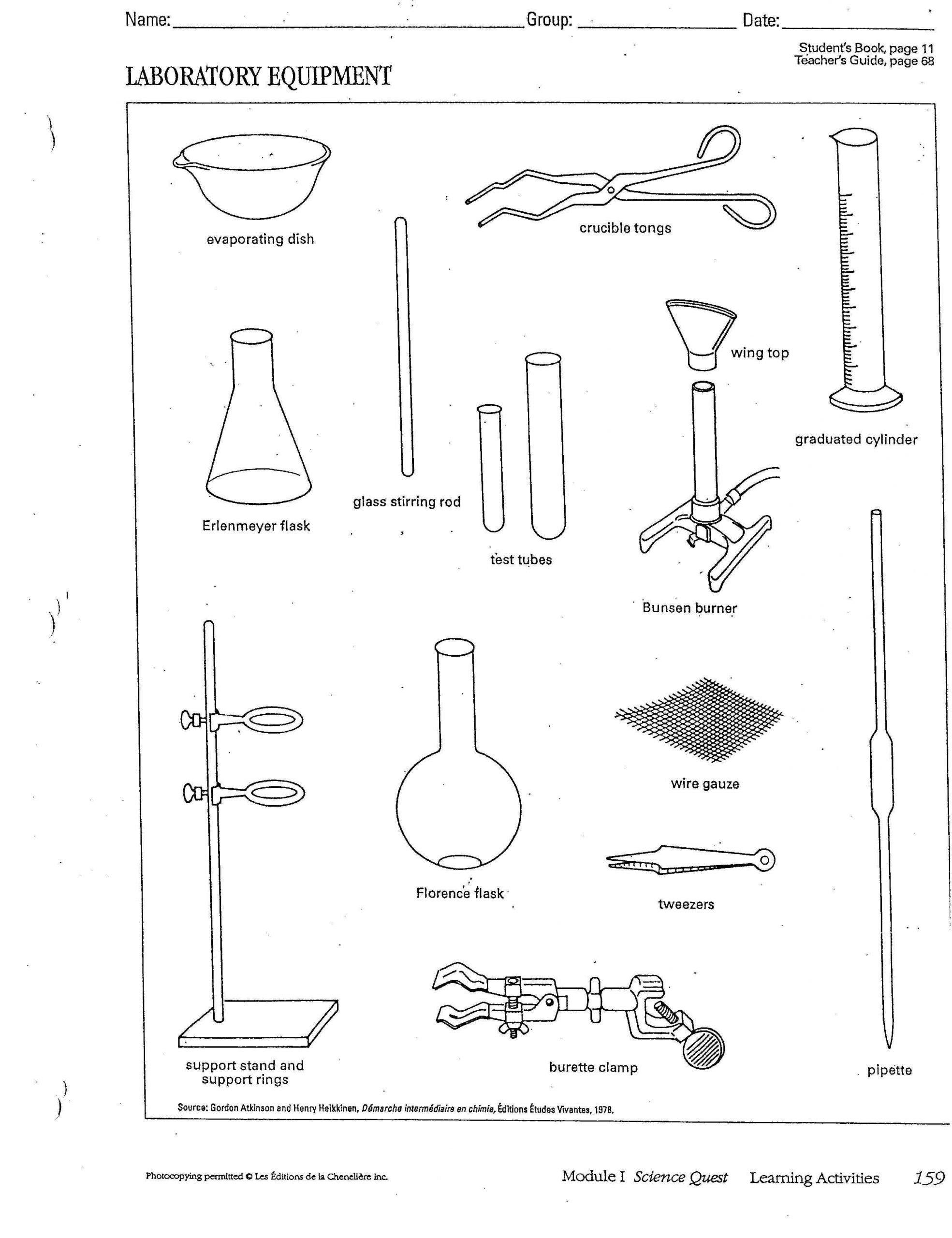 Lab Equipment Worksheet Answer Key Chemistry Lab Equipment