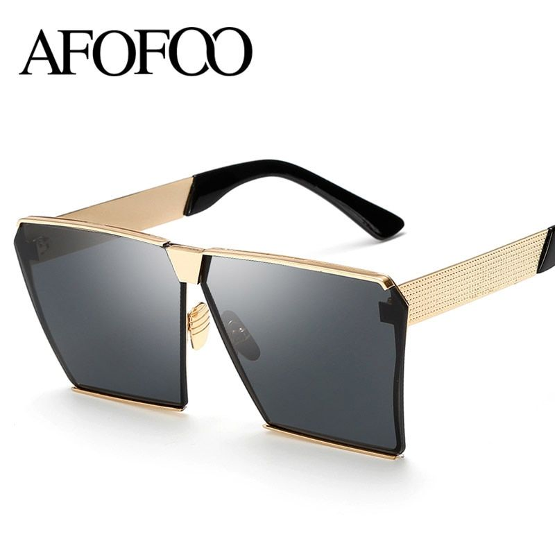 e5f101c512 AFOFOO Fashion Oversized Sunglasses Metal Frame Square Luxury Brand Designer  Women Mirror Sun glasses Men UV400 Big Frame Shades
