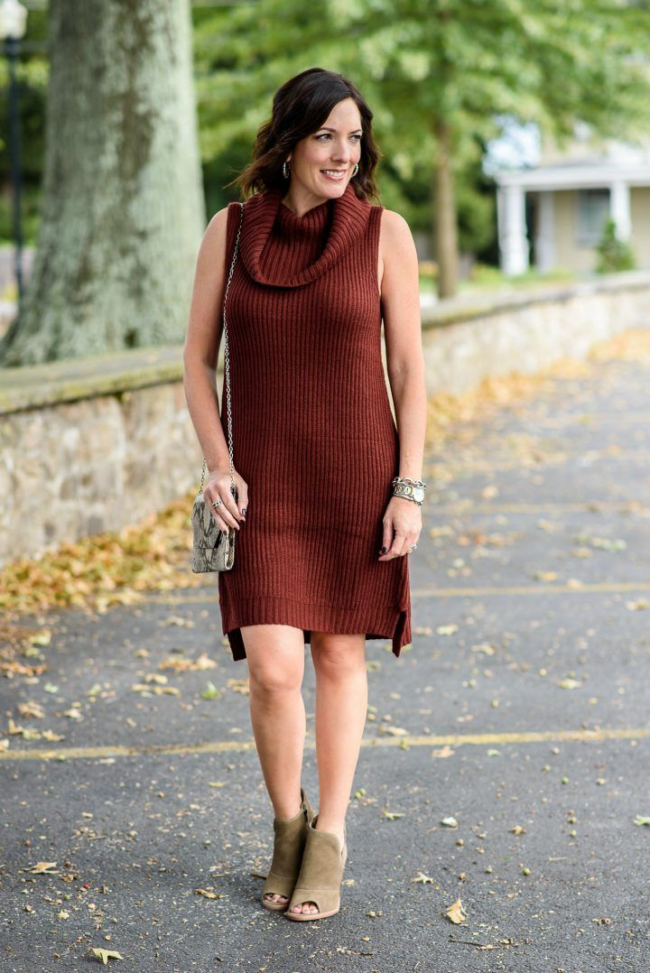 Fall Sweater Dress Outfit with Booties | Sweater dress outfit ...
