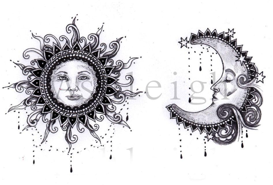 Bohemian Sun And Moon By Tattoosbyashleigh On Deviantart Moon Tattoo Moon Sun Tattoo Sun Tattoo