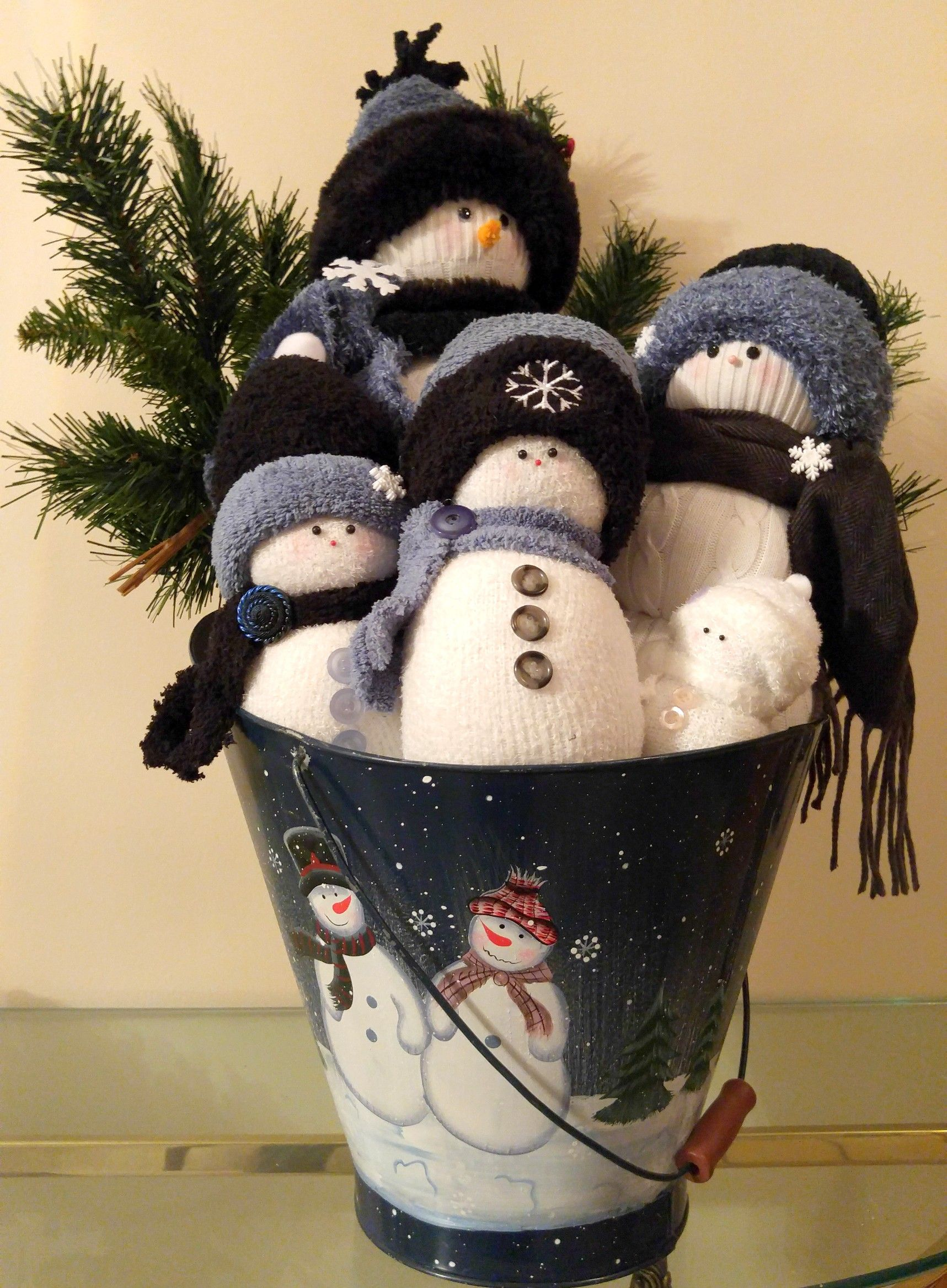 Snow family of 5, handcrafted of new socks, fabric