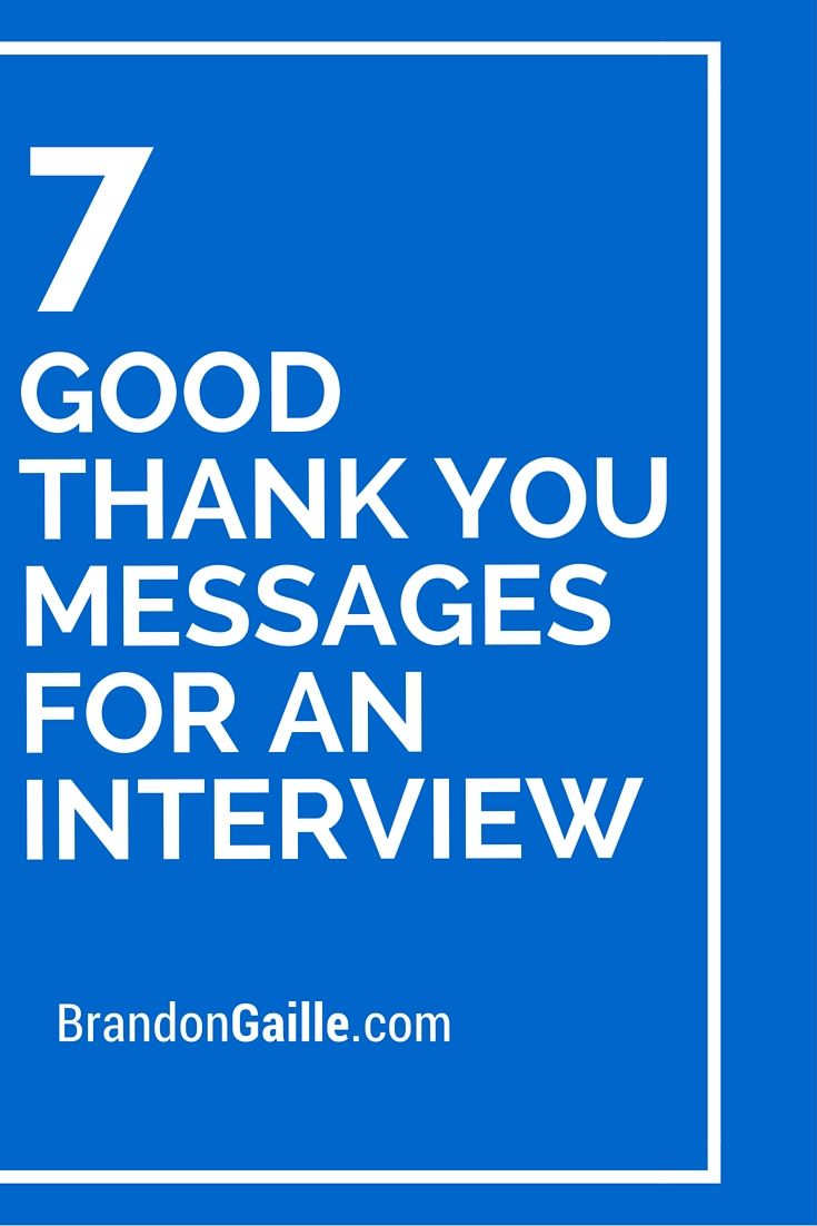 Good Thank You Messages For An Interview  Messages Card