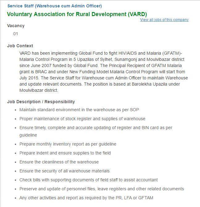Voluntary Association For Rural Development Service Staff Job