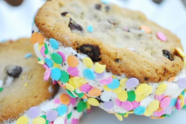 chocolate chip cookies with ice cream and sprinkles