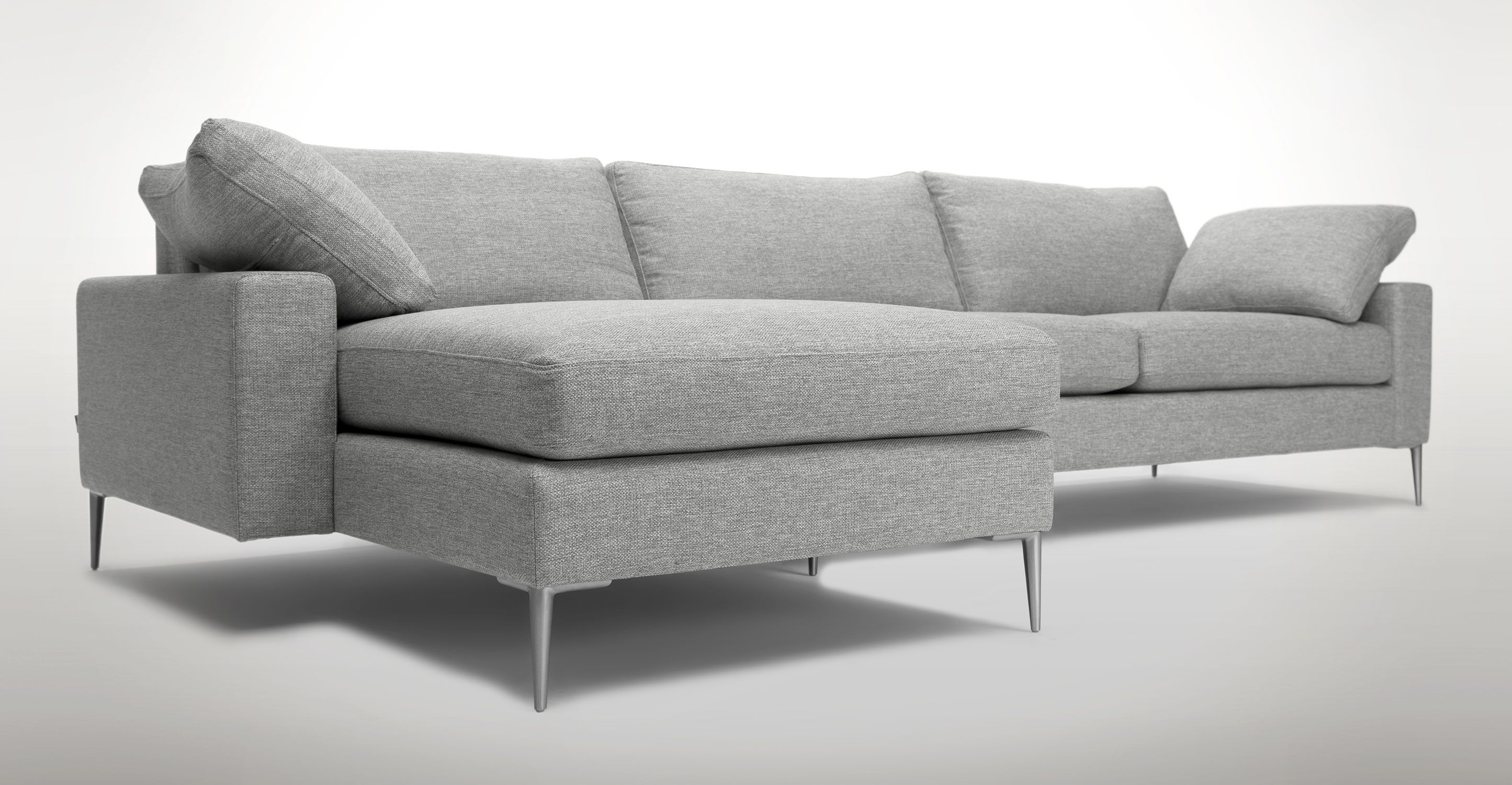 Light Gray Left Sectional Sofa Metal Legs Article Nova Bedroom