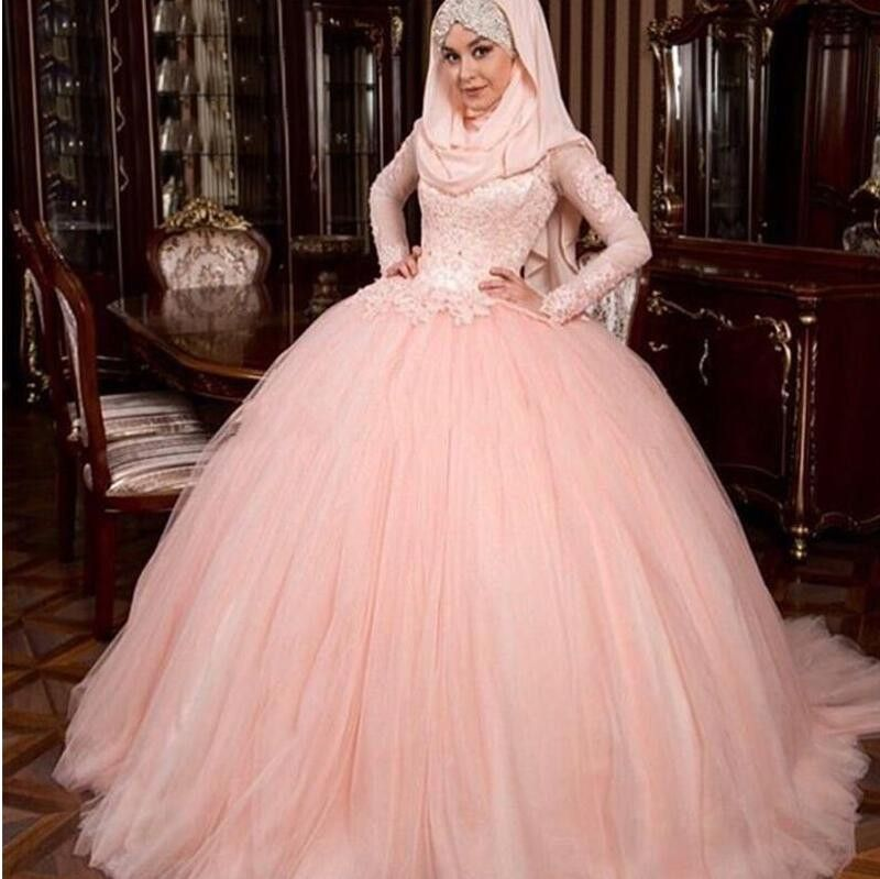 Find More Wedding Dresses Information About Hot Sale 2017 Pink Puffy Ball Gown Luxury Long Sleeves