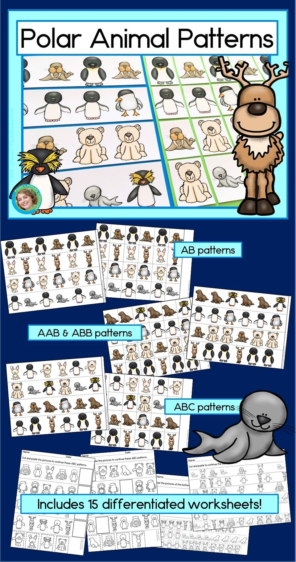 Polar Animal Patterns Math Center With Ab Abc Aab Abb Patterns Polar Animals Abb Patterns Stuffed Animal Patterns