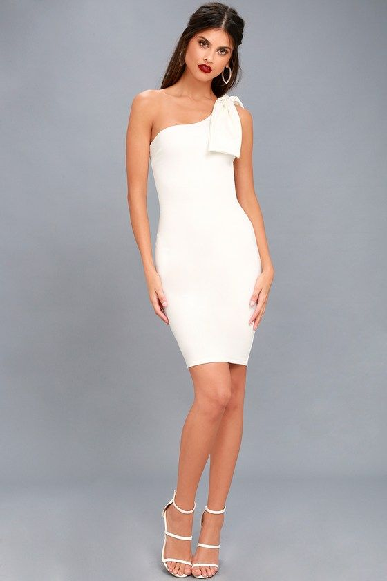 5f1009341 Save a Dance White One-Shoulder Bodycon Dress | Favorite: Lulu's ...