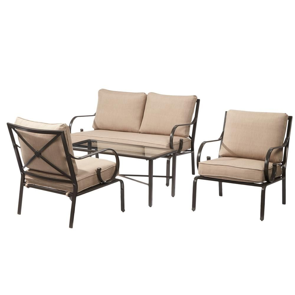 Hampton Bay Granbury 4 Piece Metal Patio Seating Set With