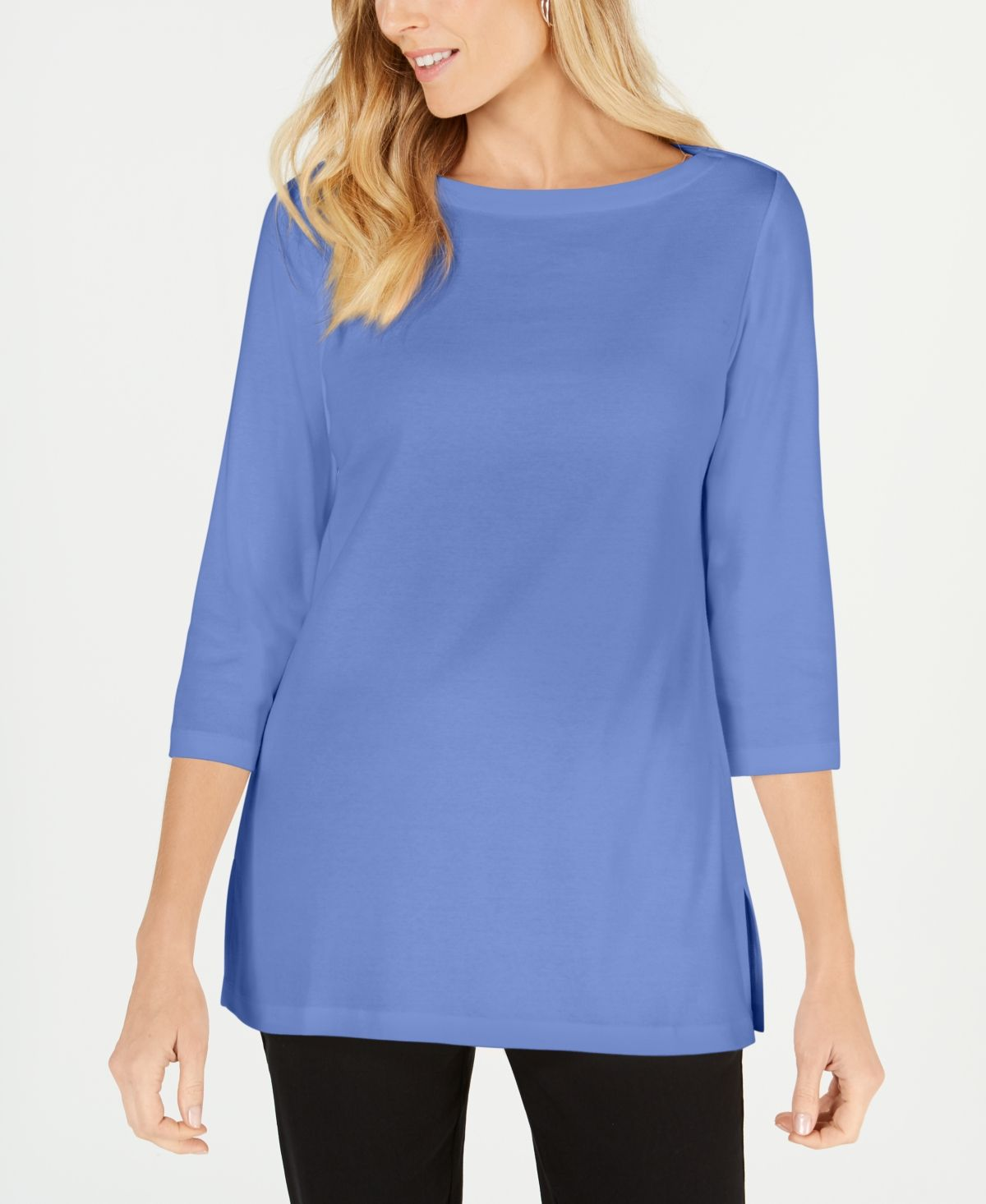 Karen Scott Cotton Boat Neck 34 Sleeve Knit Top, Created