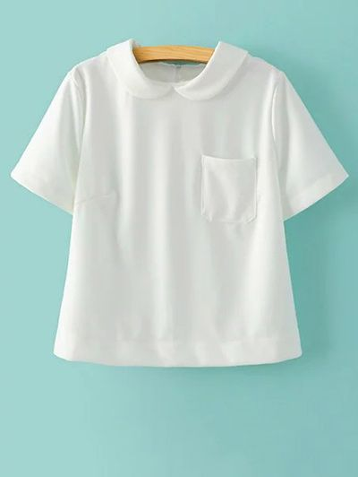 4b8d7cb006b Solid Color Peter Pan Collar Short Sleeve Pocket T-Shirt