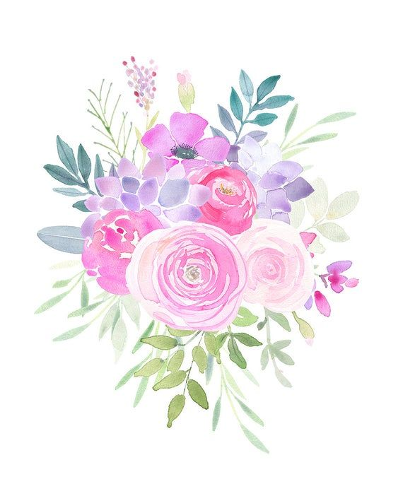 Watercolor Floral Clipart Flower Bouquets Pink Succulents