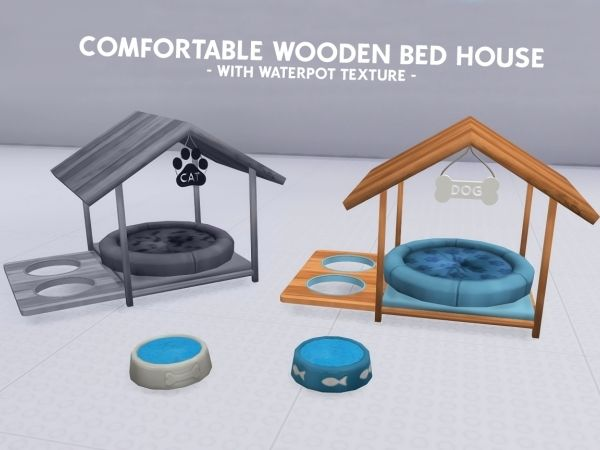 Promoted For Dogs Comfortable Wooden Bed House The Sims 4 Sims 4 Beds Sims 4 Pets Sims 4