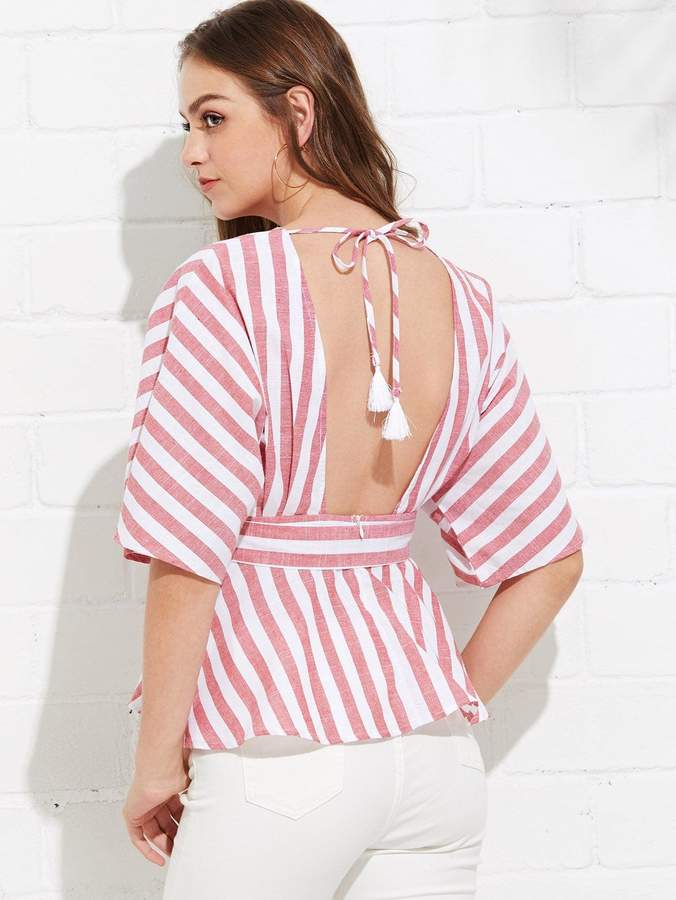 129d37fe5e21 Shein Deep V Neck Button Front Striped Blouse in 2019 | Products ...