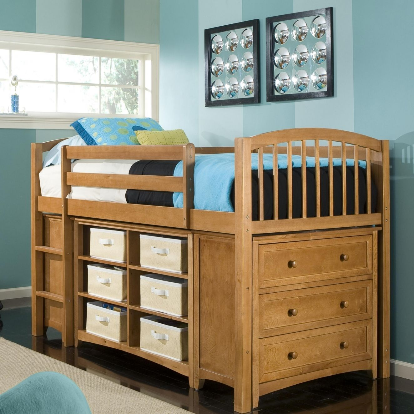 Space Saving Ideas For Small Kids Bedrooms Part - 39: Kids Room Designs Nice Organized Space Saving Small Kids Room With Amazing  Natural Wood Loft Bed Integrated With Hidden Storage Unit Underneath Cool  Kids ...