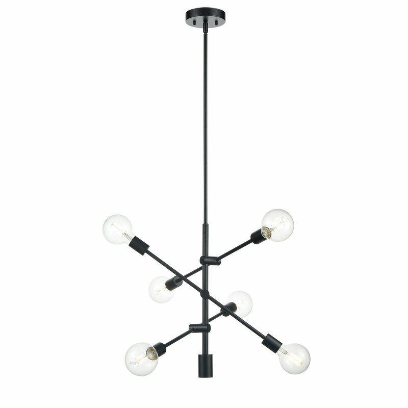 Hannah 6 Light Sputnik Modern Linear Chandelier & Reviews
