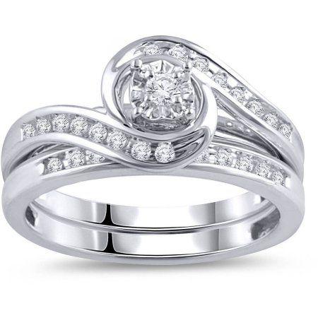 Forever Bride 1 3 Carat T W Diamond Bypass Ring Bridal Set In 10kt White Gold Walmart Com Cheap Wedding Rings Sets Bridal Ring Sets White Gold Wedding Ring Set