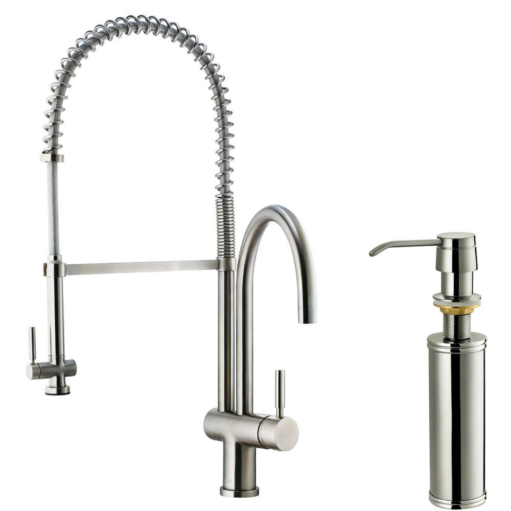 Vigo Stainless Steel (Silver) Pull-Down Spray Kitchen Faucet with ...