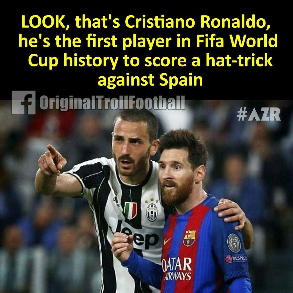 Bak O Cristian Ronaldo Fifa Dunya Kupasi Tarihinde Ispanyana Hat Trick Yapan Ilk Kisi Ronaldo Football Fifa Funny Soccer Funny