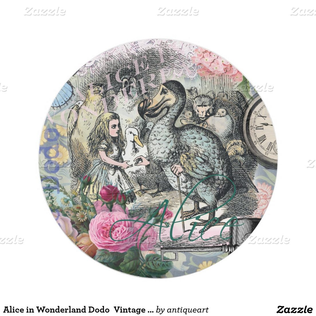 Alice in Wonderland Dodo Vintage Pretty Collage 7 Inch Paper Plate  sc 1 st  Pinterest & Alice in Wonderland Dodo Vintage Pretty Collage 7 Inch Paper Plate ...