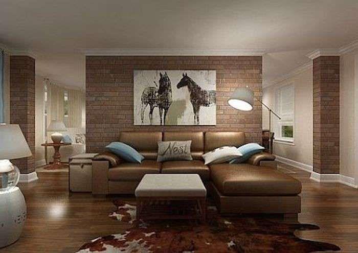 Decorare casa con i mattoni a vista - Parete mattoncini in salotto ...