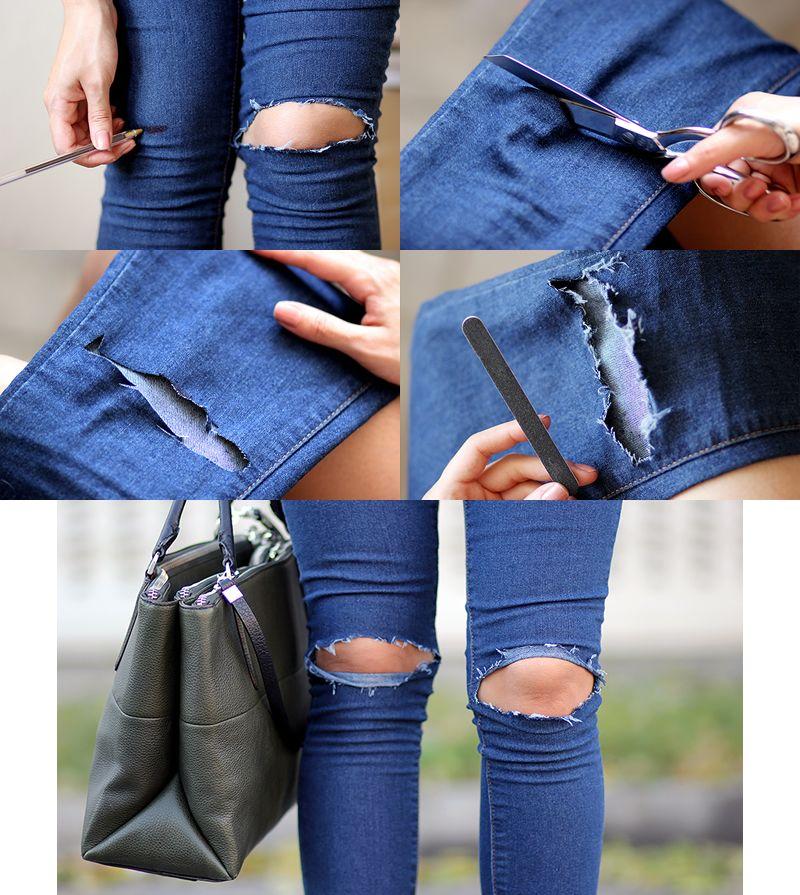 Diy jeans rasgados rodilla diy pinterest - Como hacer blanco roto ...