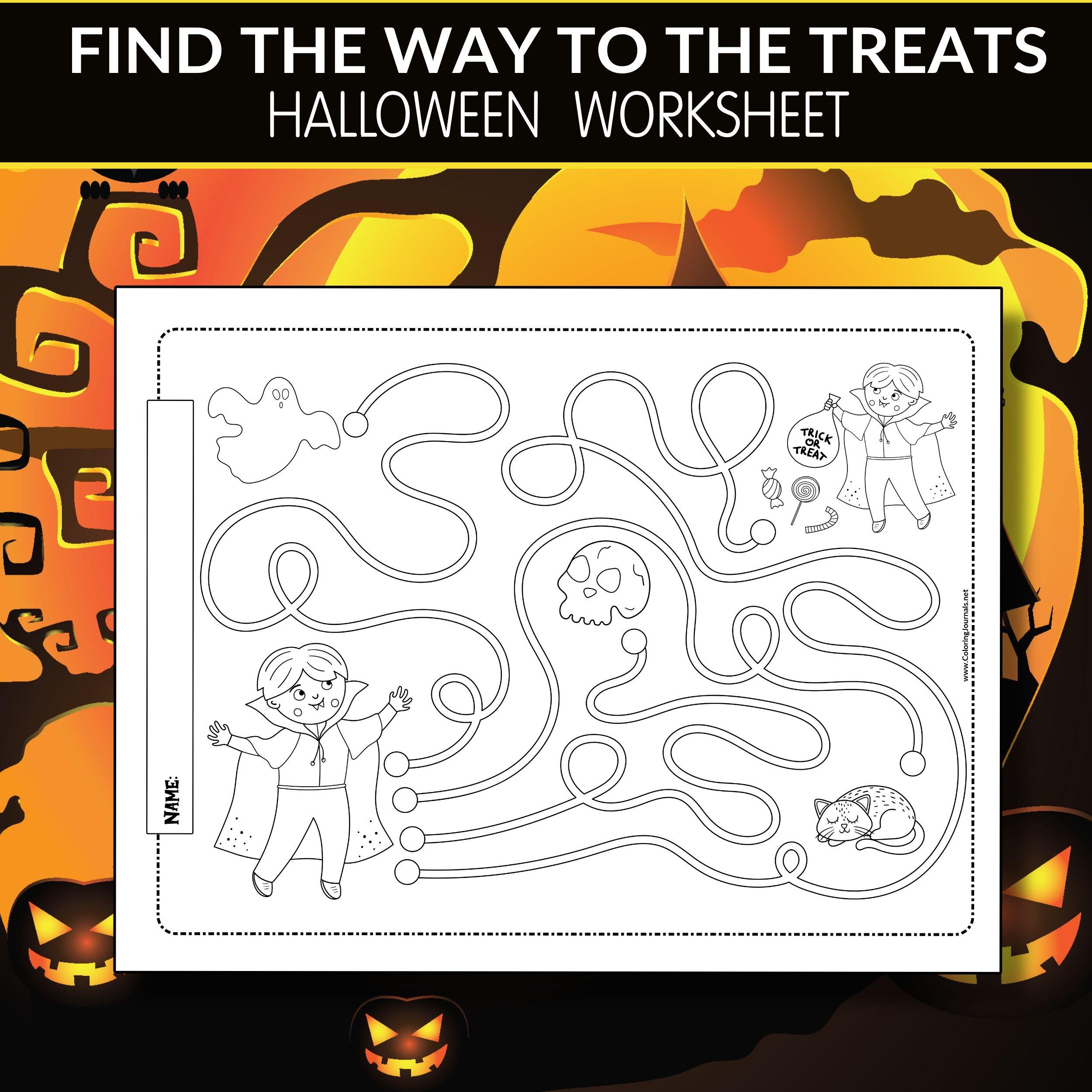 Halloween Activity Worksheet Find The Way To The Treats Halloween Worksheets Halloween Activities Halloween Activities For Kids [ 2500 x 2500 Pixel ]