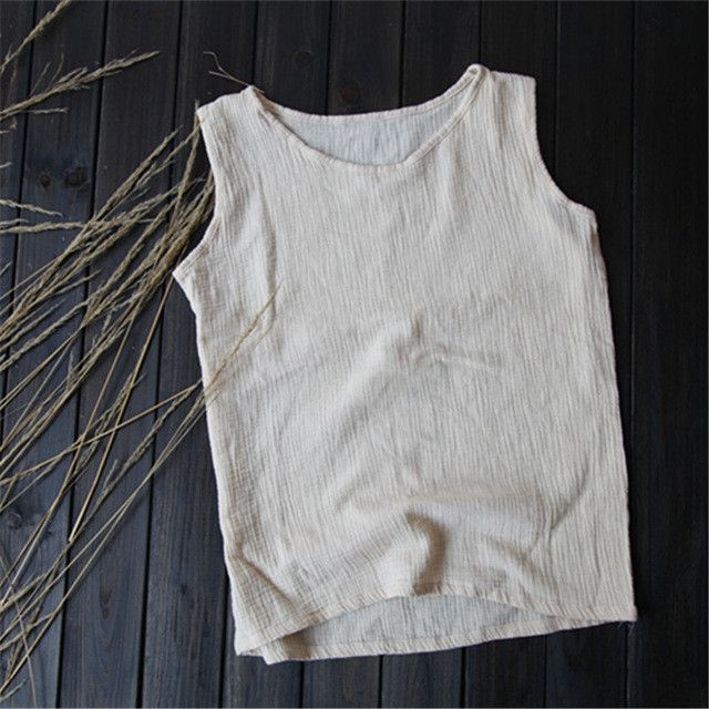 51d49f9253a Solid 2 layer Linen Women Tank Top Loose Casual O-neck Summer Tank top Women  High quality White Yellow Tanks Shirt Tops 5016
