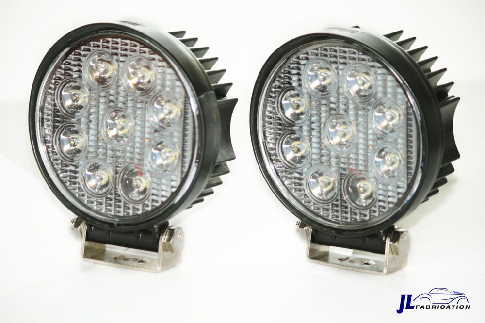 """Pair of 4"""" Round LED Fog / Spotlights 27w Offroad, Boat, Tow Truck Work Light #CCRProducts"""