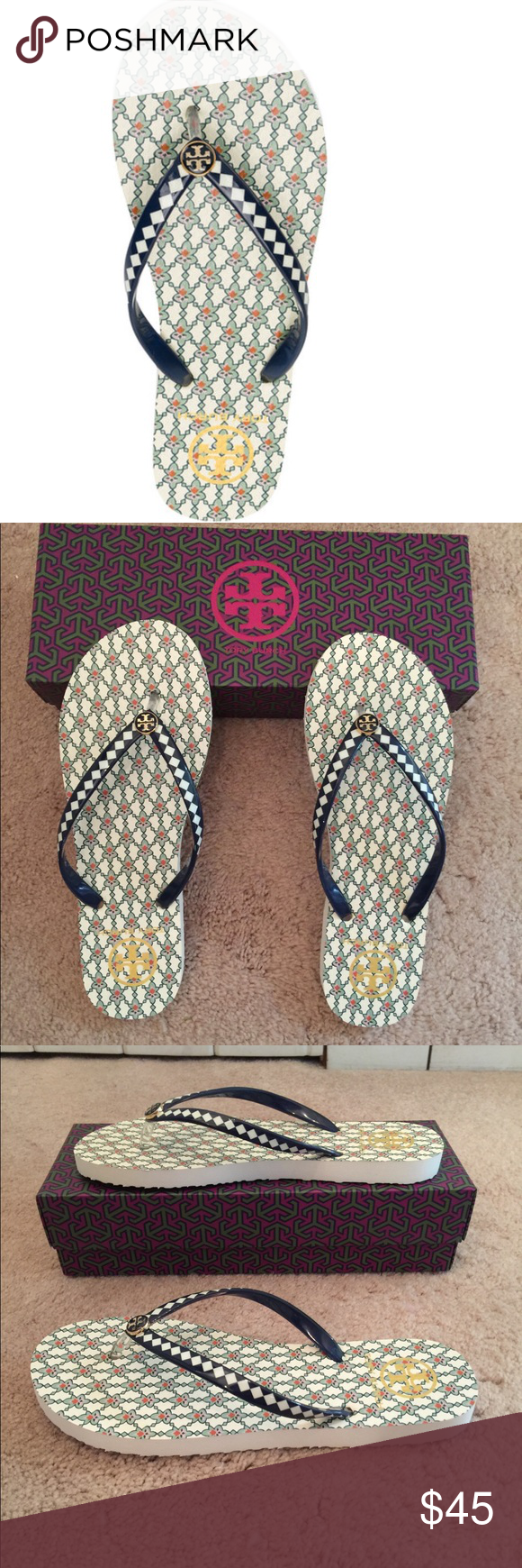 332190346f466 🆕 Tory Burch Piazza Printed Thin Flip Flop 💯% authentic Tory Burch ...
