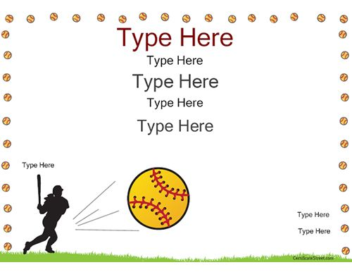 Sports certificate softball certificate certificatestreet certificate street free award certificate templates no registration required yadclub Choice Image