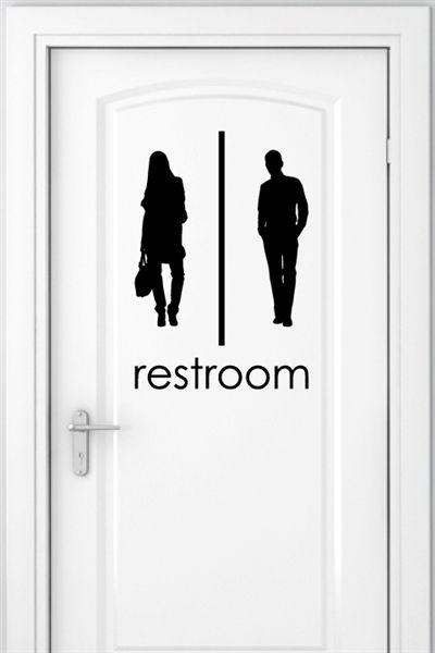 Unisex Bathroom Signs 2 Pack Wall Decals Walltat