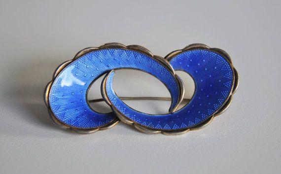 Vintage SterlingBlue Enamel Mid Century Modernist Brooch