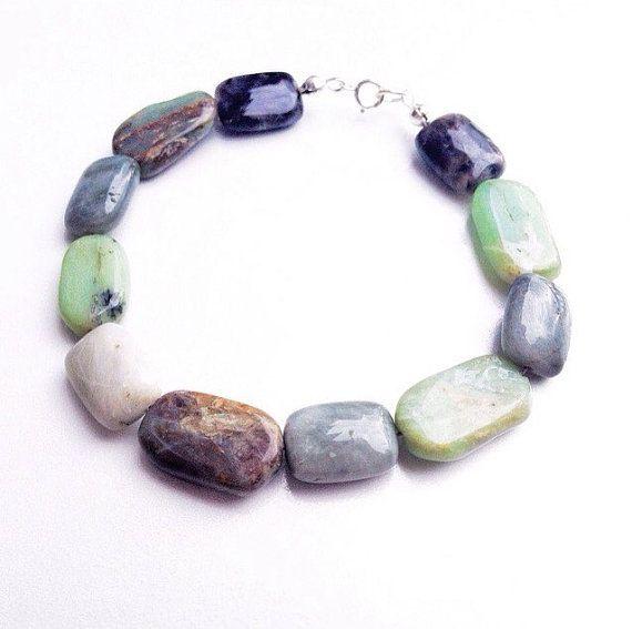 Green Peruvian Opal & Eagle Eye Gemstone Beaded Bracelet by mariaidadesigns