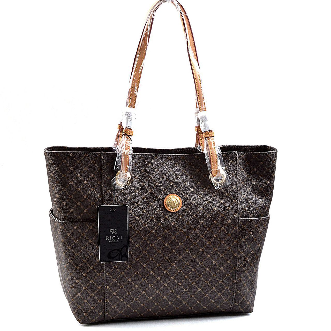 Rioni Signature Saddle Tote In Brown Saddles Classic Style Wallets Pure Products