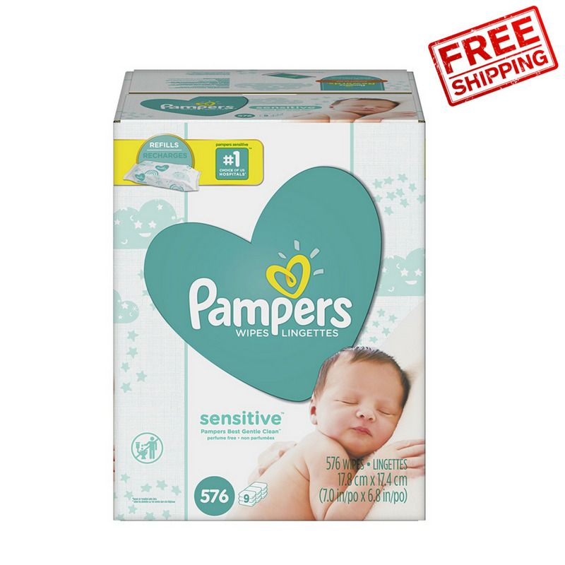 576 Count Pampers Sensitive Water-Based Baby Wipes 9X Refill Packs