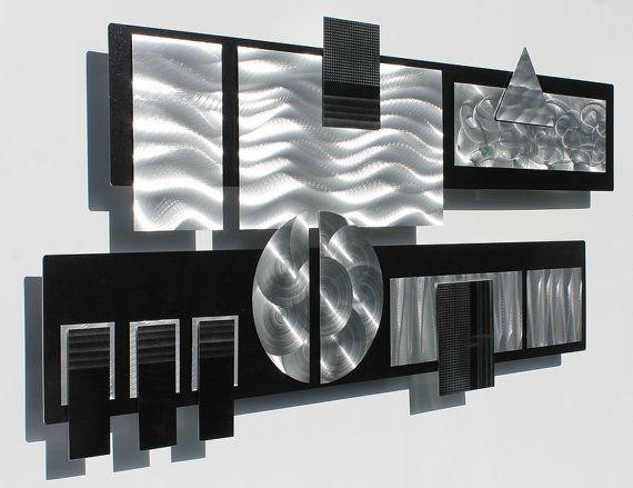 Black & Silver Modern Metal Wall Sculpture