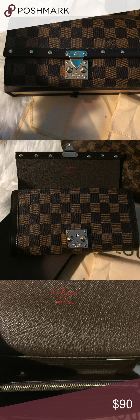 Damier wallet with rivets Comes with original lv brown box and dust bag! Excellent wallet made with real Damietta canvas. Superb quality. Price says it all, please don't ask the obvious (about the brand, listed as such for more exposure) Bags Wallets