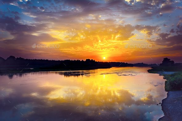 Summer River Landscape With Multicolored Sunrise Lake Landscape Landscape Scenery Sunrise Photos