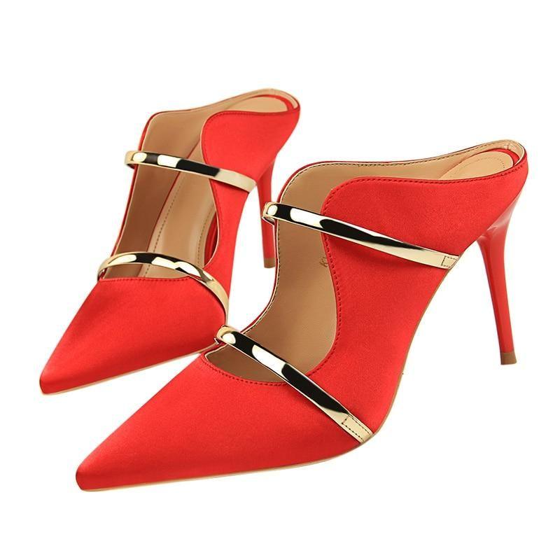 c95cf32ff Silk Thin High Heel Pumps Women High Heels Shallow Metal Color Platform  Pumps wmoan Sexy Party Wedding Ladies Shoes  womensclothing  swimsuits ...
