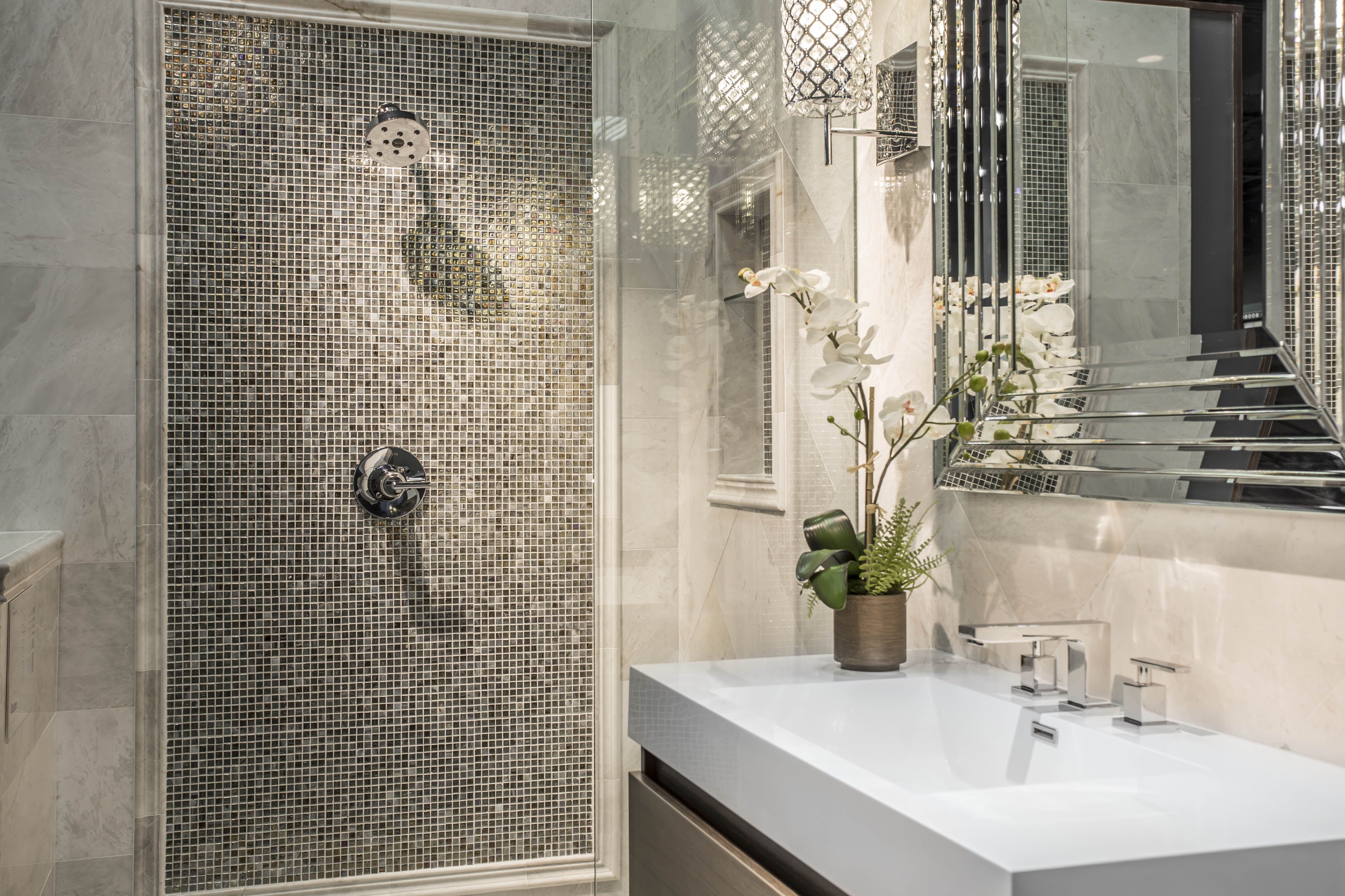 Marble Finishing Pieces Frame The Glass Mosaic Shower Feature One