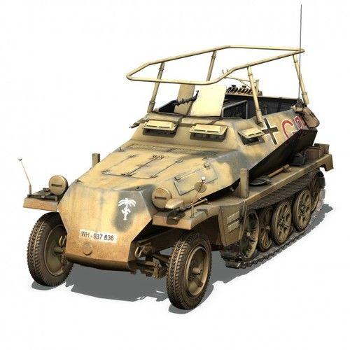 """SD.KFZ.250 / 3 - Early Production - Half-Track de commandement, équipé de matériel de radio et d'une antenne """"châlit"""", utilisée par Erwin Rommel pendant la campagne d'Afrique du Nord."""