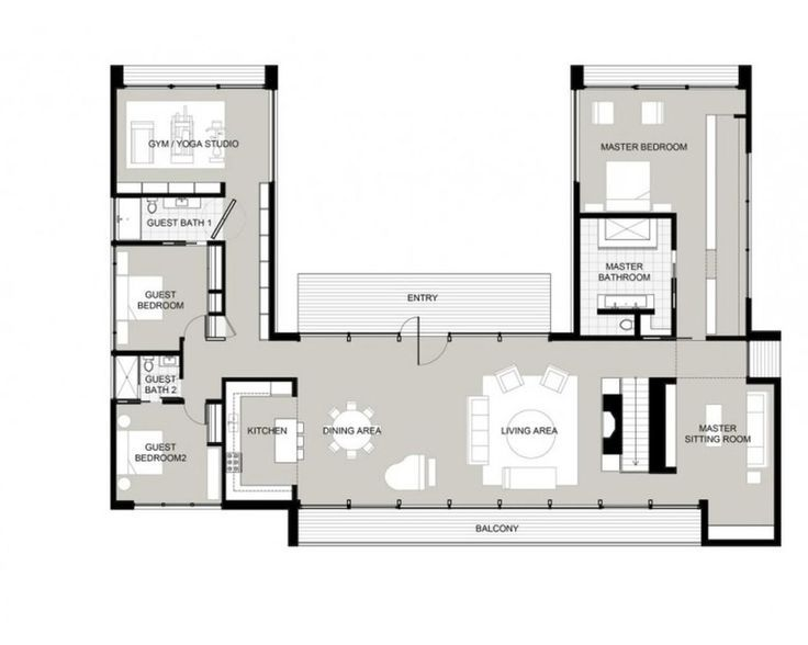 u-shaped house plans with courtyard … | pinteres…
