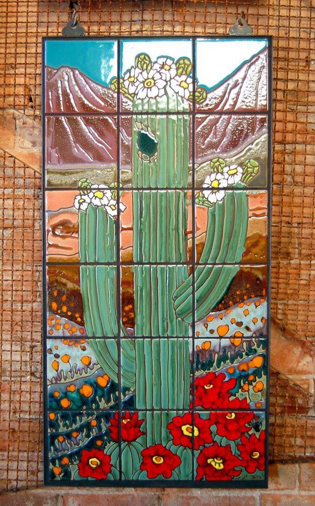 Hand Glazed Ceramic Tile Saguaro With Desert Flowers Mural Flower Mural Tile Murals Glazed Ceramic Tile