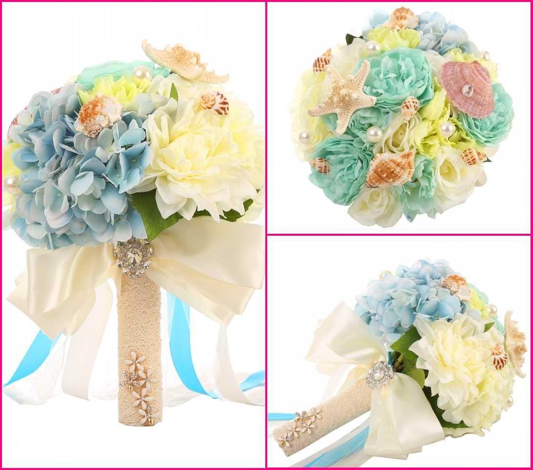 2016 New Beach Wedding Flowers Blue Sheels Bouquet Silk Flowers