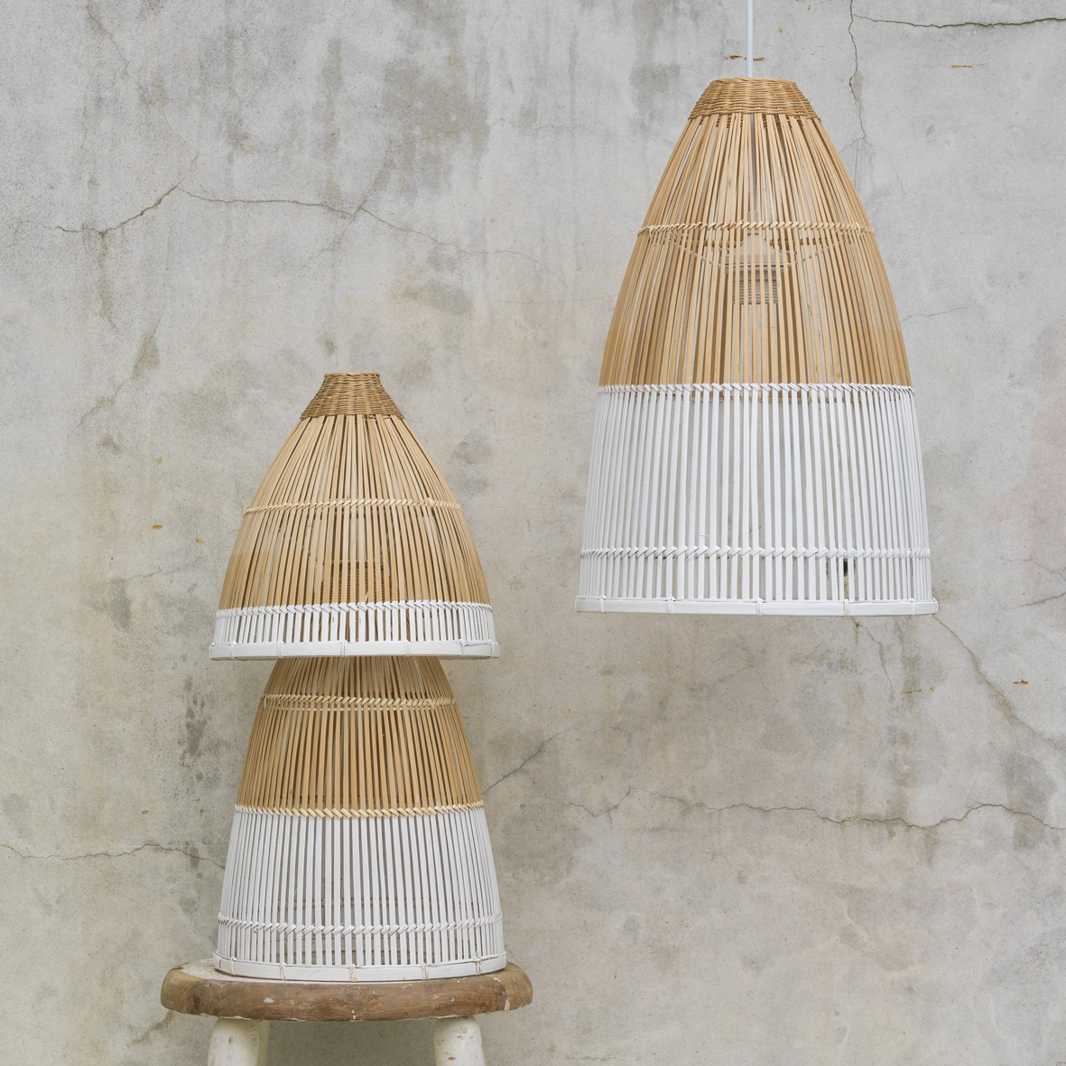 Dipped bamboo lights set of modern twotone dipped bamboo