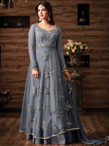 74cb7e307e7 Buy Sonal chauhan grey color netted wedding anarkali 4807 online in USA