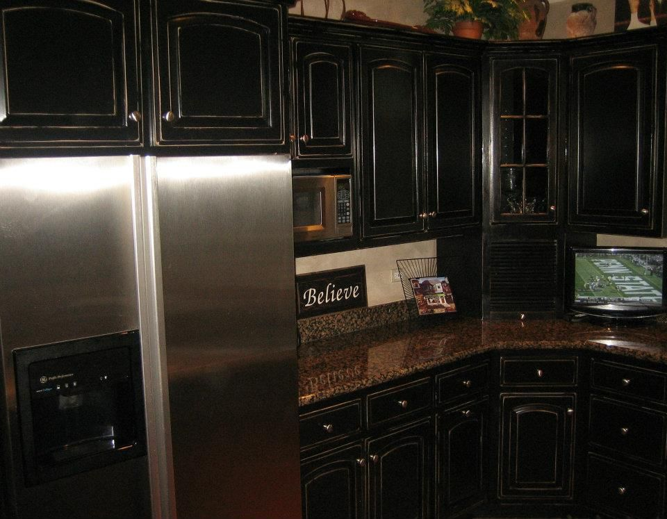 Black Distressed Kitchen Cabinets  Black Distressed. Formal Living Room Sets. Robinson Fence. Handsome Cabinets. Bathroom Light. Black And White Backsplash. Marble Shower Curb. Mayer Lighting. Corner Kitchen Rug