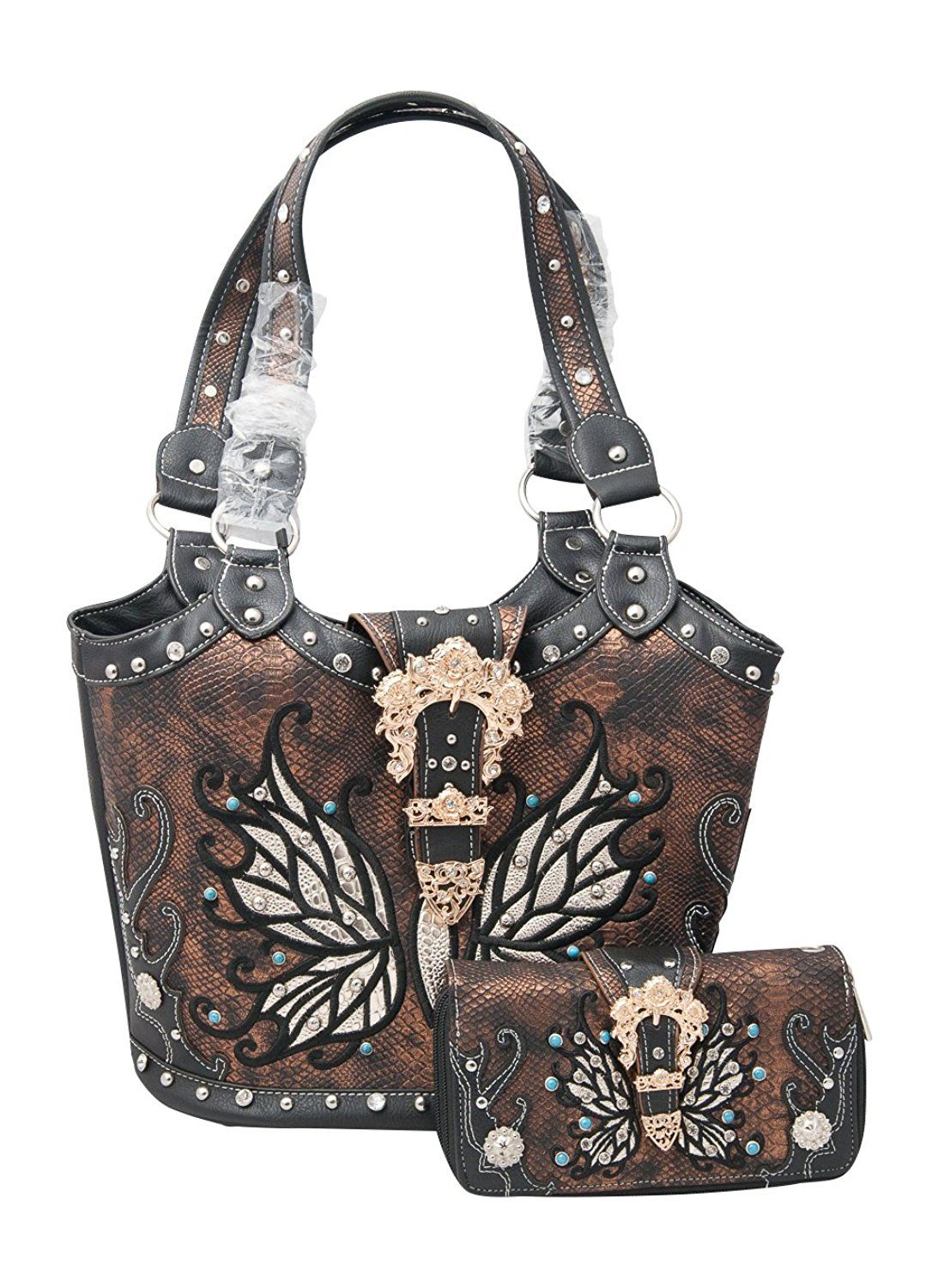Cowgirl Trendy Western Concealed Carry Butterfly Belt Python Tote Handbag  and Wallet    You can 65d2748798ada